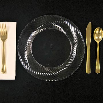 Disposable Clear plate with Gold Plastic Ware