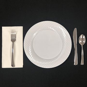 Disposable White plate with Silver Plastic Ware