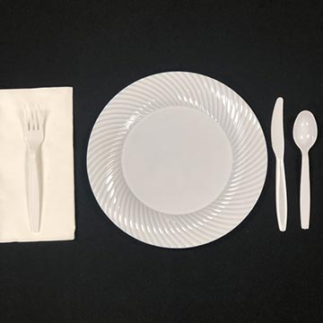 Disposable White plate with White Plastic Ware