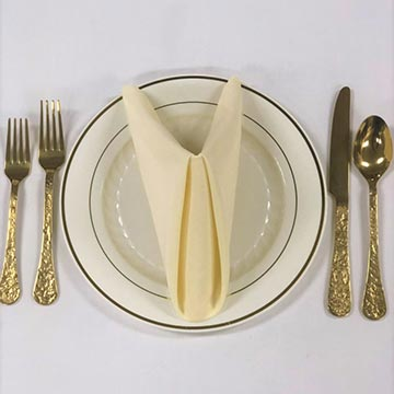 Gold Flatware with Disposable plate