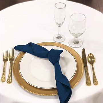Gold Rim China with Gold Flatware