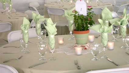 Beautifully set table at a San Diego Wedding just before the catered food is served.